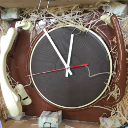 Turntable Clock - Made from a genuine turntable - Cream and Brown