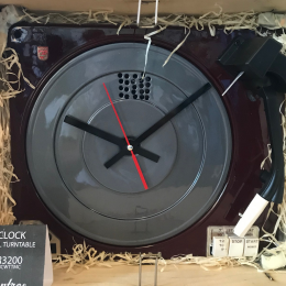 Turntable Clock - Made from a genuine turntable - Maroon and Charcoal