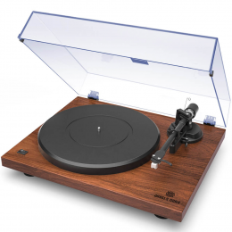 Angels Horn Vinyl Record Player -  Two Speed Vintage Turntable (Walnut)