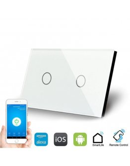 WallPad 2 Lever Smart Switch - Works with Alexa, iOS and Android