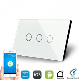 WallPad 3 Lever Smart Switch - Works with Alexa, iOS and Android